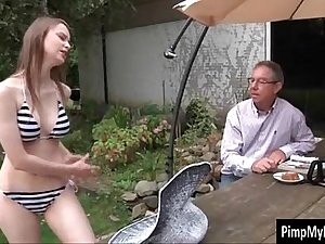 Stepdaughter and dad have sex in the backyard
