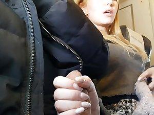 Bella jerking off together with sucking my cock on the aeroplane