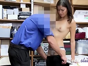 Tiny Teen Brunette Forced To Pay The Debt For Stealing- Emily Willis