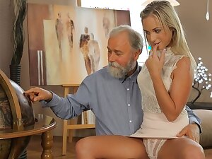 OLD4K. Shanie has a crush on say no to grey-bearded geography teacher